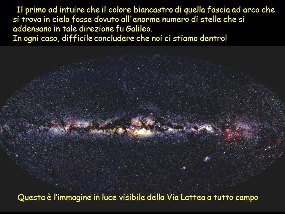 Il primo ad intuire che il colore biancastro di quella fascia ad arco che si trova in cielo fosse dovuto all enorme numero di stelle che si addensano in tale direzione fu Galileo.