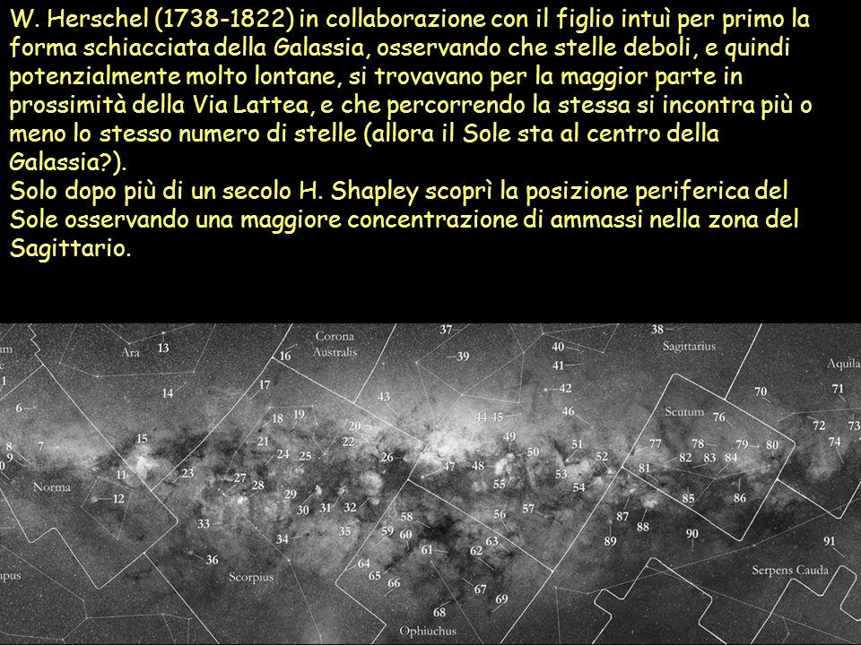 W. Herschel (1738-1822) in collaborazione con il figlio intuì per primo la forma schiacciata della Galassia, osservando che stelle deboli, e quindi potenzialmente molto lontane, si trovavano per la maggior parte in prossimità della Via Lattea, e che percorrendo la stessa si incontra più o meno lo stesso numero di stelle (allora il Sole sta al centro della Galassia ).