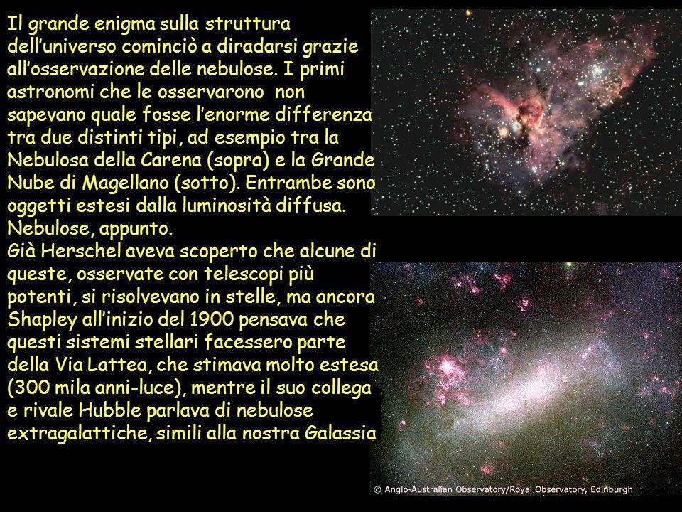 Il grande enigma sulla struttura dell'universo cominciò a diradarsi grazie all'osservazione delle nebulose. I primi astronomi che le osservarono non sapevano quale fosse l'enorme differenza tra due distinti tipi, ad esempio tra la Nebulosa della Carena (sopra) e la Grande Nube di Magellano (sotto). Entrambe sono oggetti estesi dalla luminosità diffusa. Nebulose, appunto.