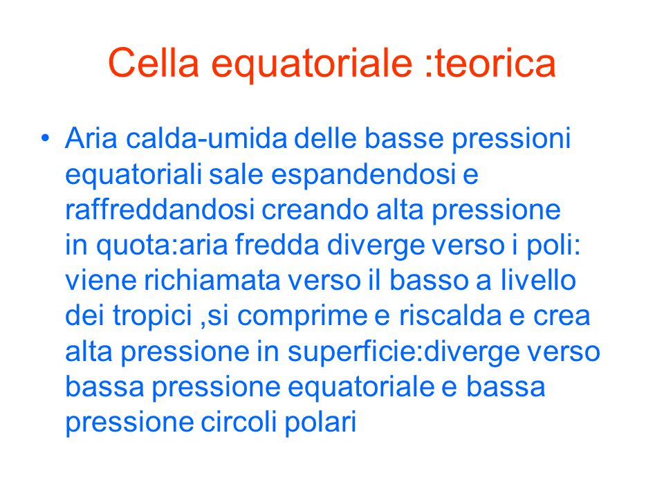 Cella equatoriale :teorica