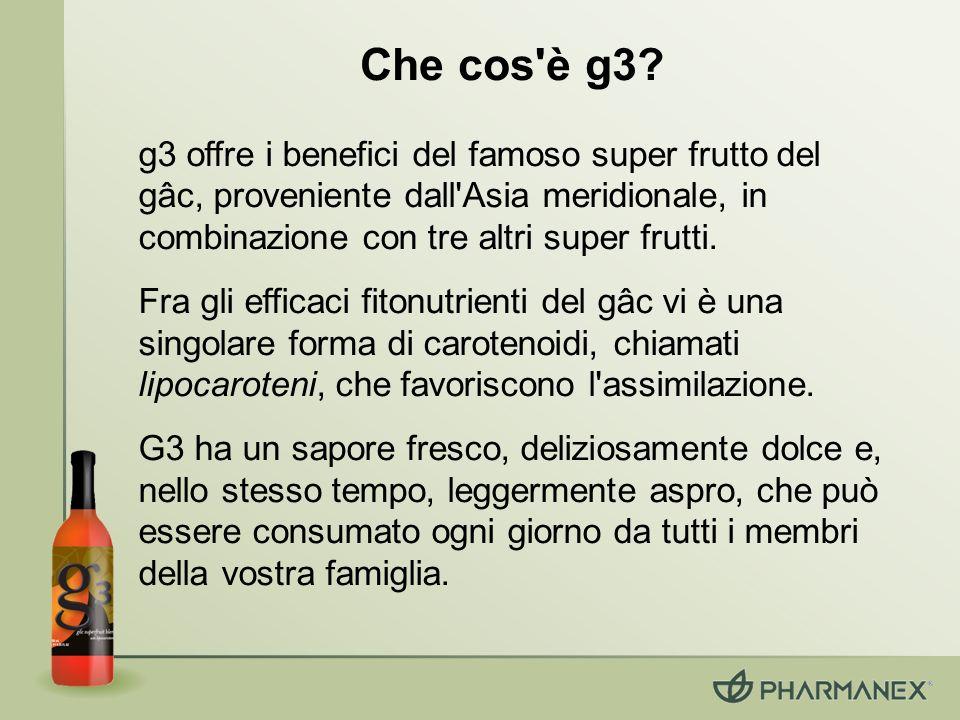 Che cos è g3 g3 offre i benefici del famoso super frutto del gâc, proveniente dall Asia meridionale, in combinazione con tre altri super frutti.