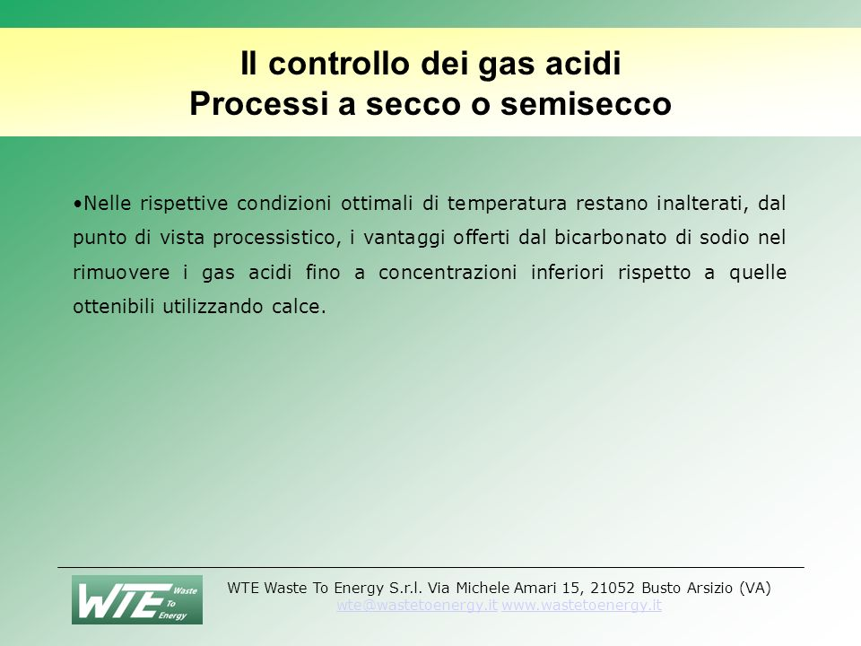 Il controllo dei gas acidi Processi a secco o semisecco