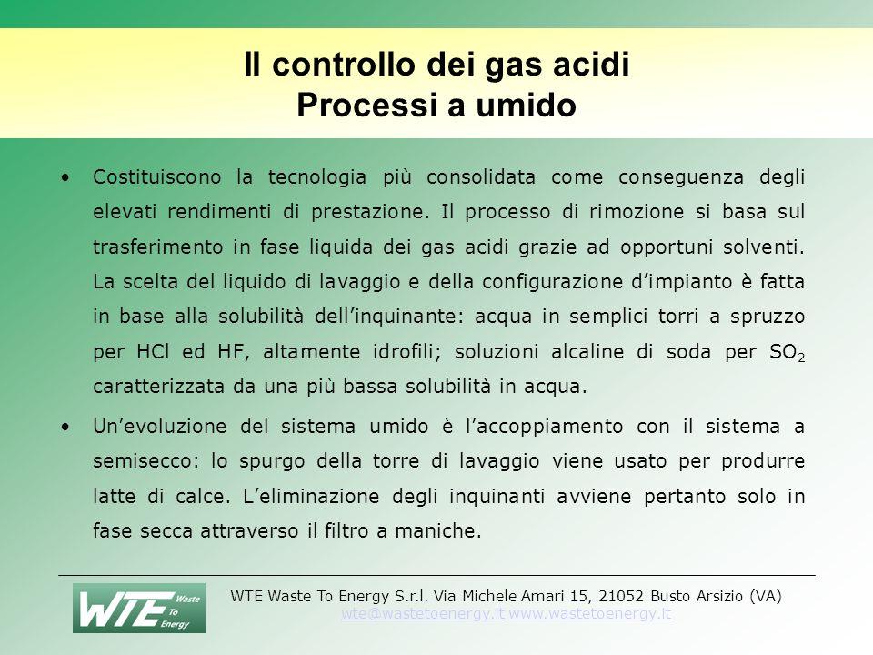 Il controllo dei gas acidi Processi a umido