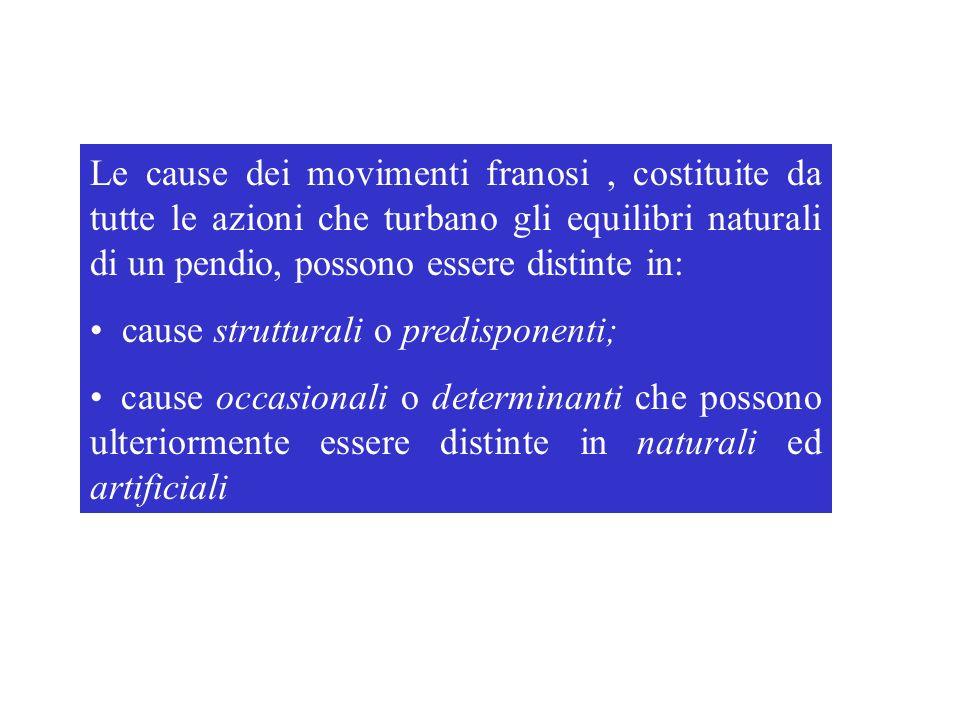 Le cause dei movimenti franosi , costituite da tutte le azioni che turbano gli equilibri naturali di un pendio, possono essere distinte in: