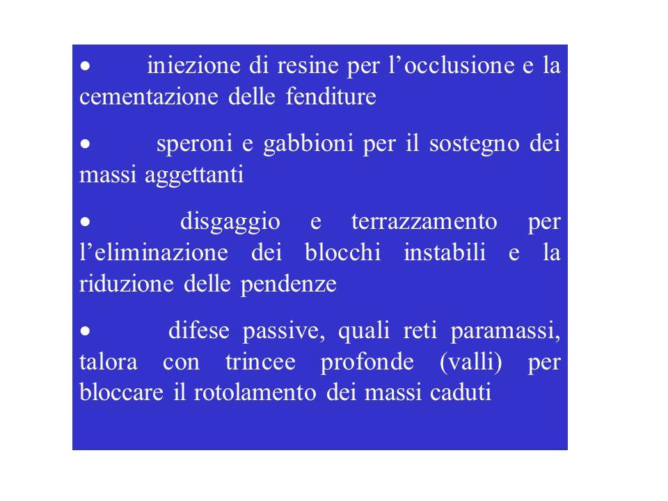 · iniezione di resine per l'occlusione e la cementazione delle fenditure