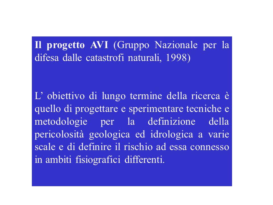 Il progetto AVI (Gruppo Nazionale per la difesa dalle catastrofi naturali, 1998)