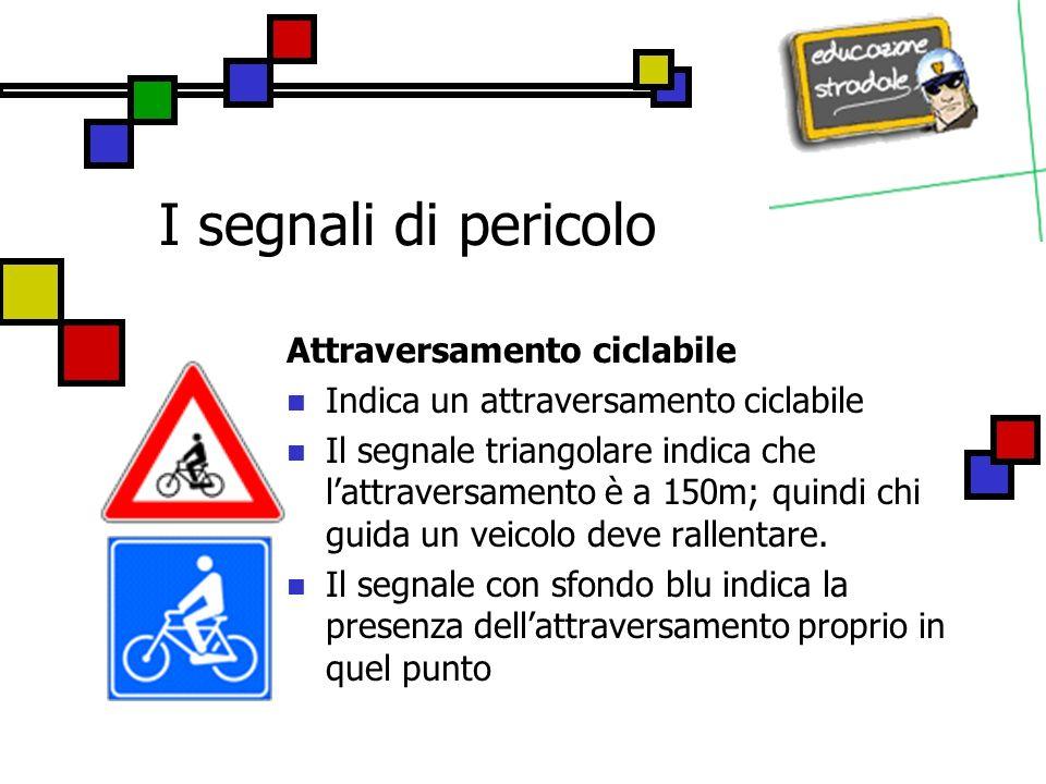 I segnali di pericolo Attraversamento ciclabile