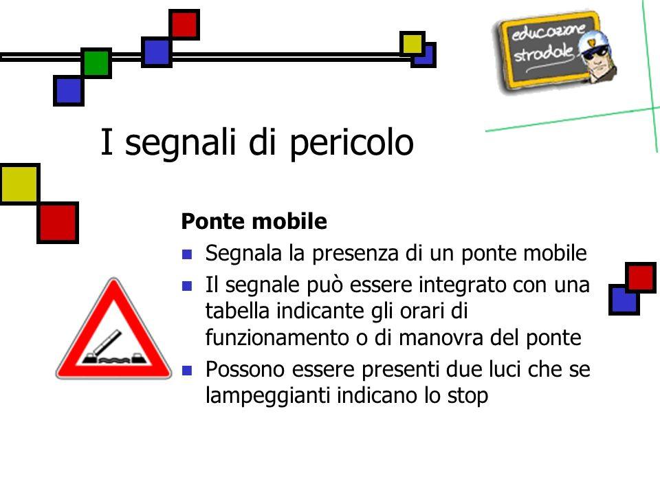I segnali di pericolo Ponte mobile