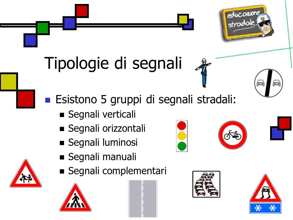 Tipologie di segnali Esistono 5 gruppi di segnali stradali: