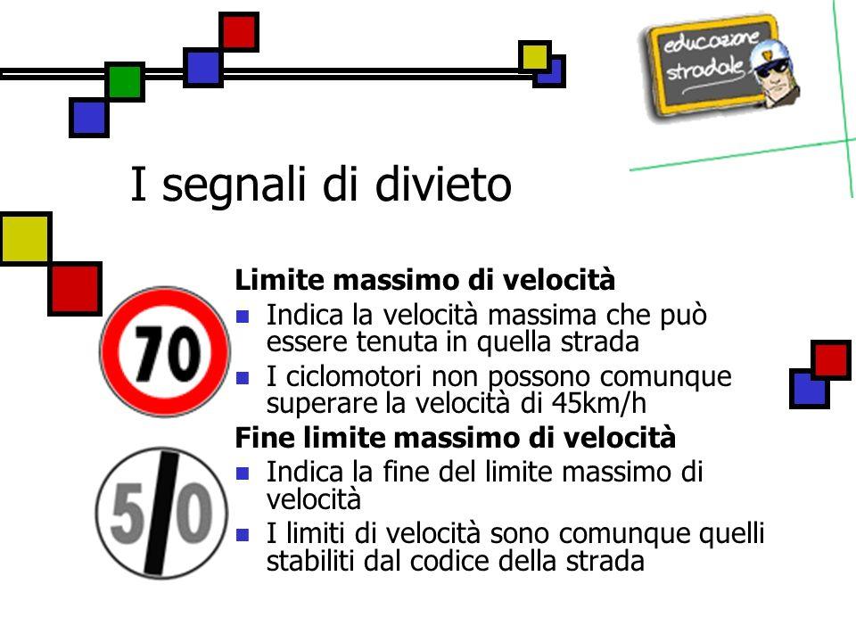 I segnali di divieto Limite massimo di velocità