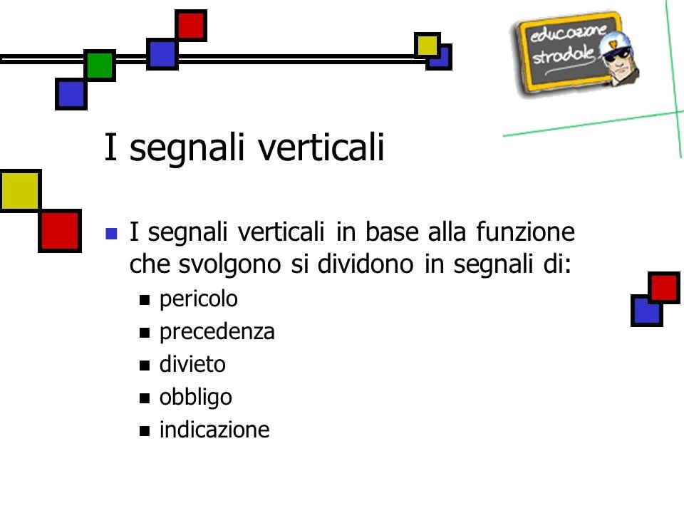 I segnali verticali I segnali verticali in base alla funzione che svolgono si dividono in segnali di: