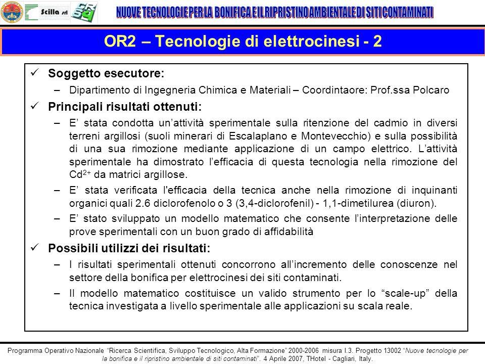 OR2 – Tecnologie di elettrocinesi - 2