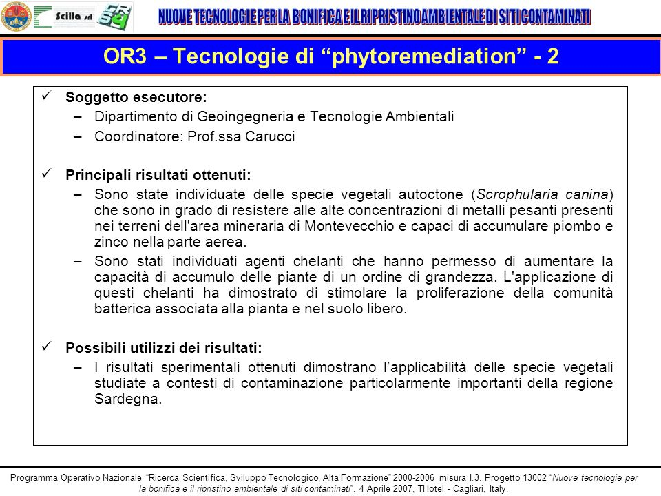 OR3 – Tecnologie di phytoremediation - 2