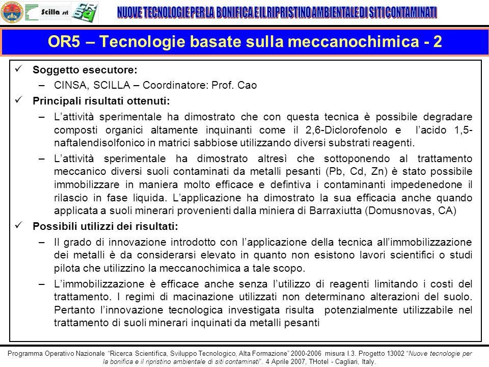 OR5 – Tecnologie basate sulla meccanochimica - 2