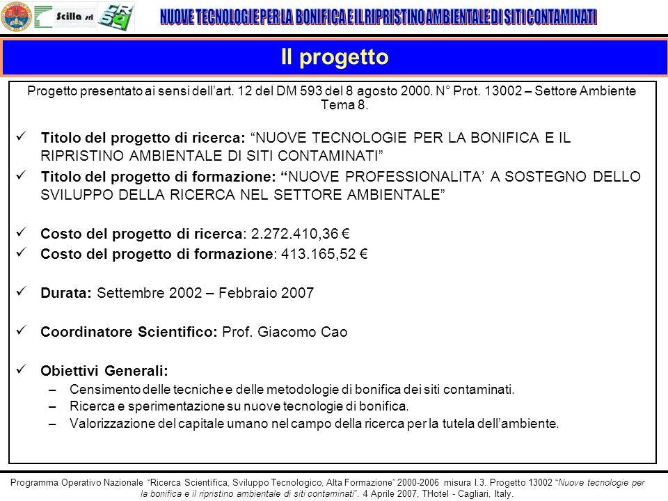 Il progetto Progetto presentato ai sensi dell'art. 12 del DM 593 del 8 agosto 2000. N° Prot. 13002 – Settore Ambiente Tema 8.