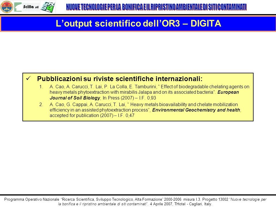 L'output scientifico dell'OR3 – DIGITA