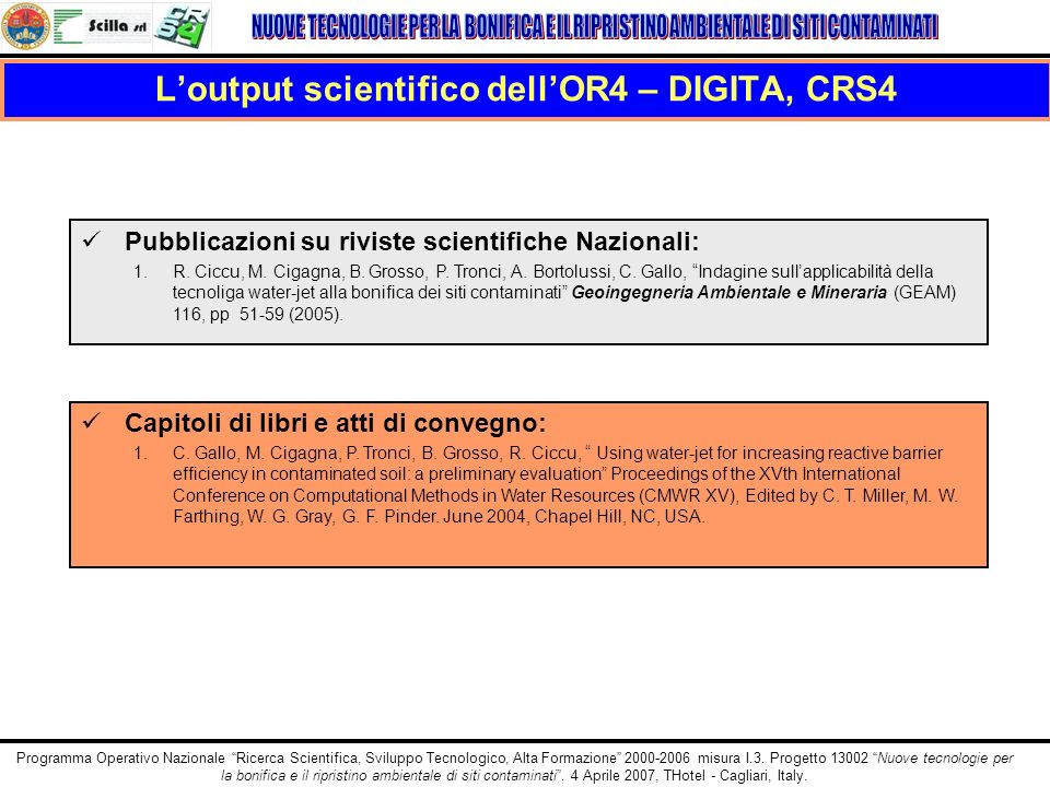 L'output scientifico dell'OR4 – DIGITA, CRS4