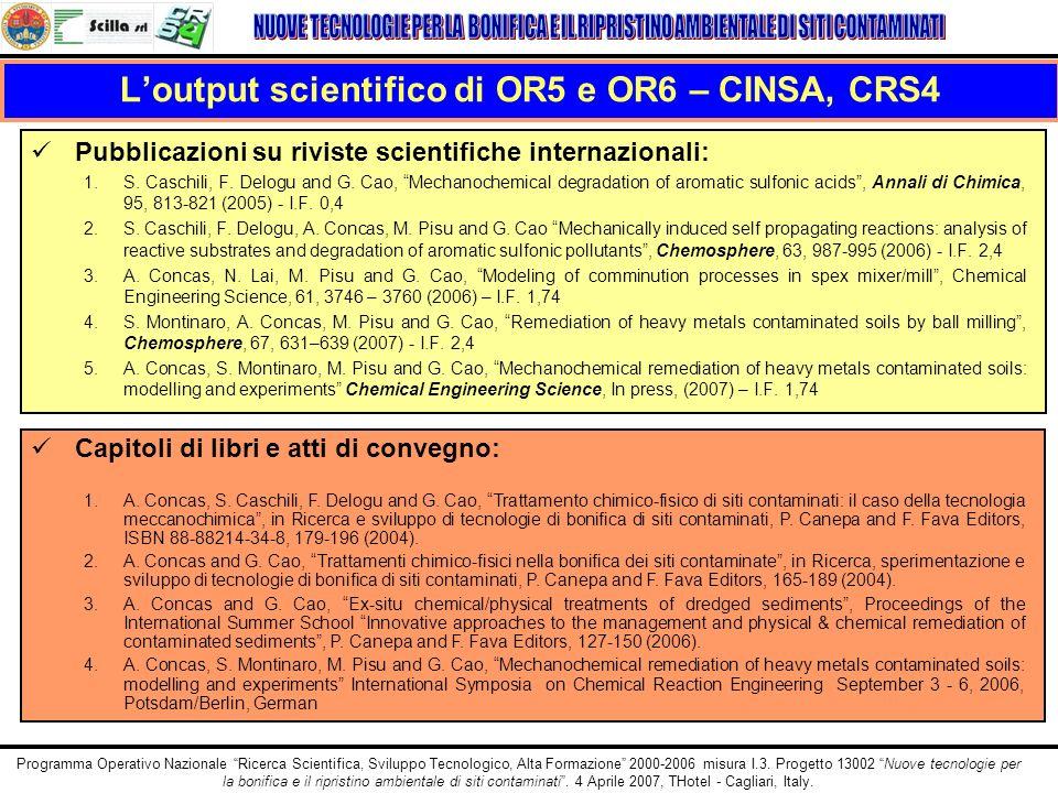 L'output scientifico di OR5 e OR6 – CINSA, CRS4