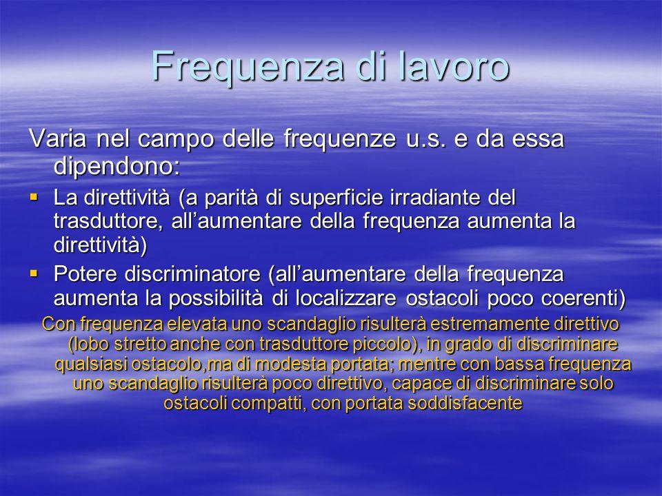Frequenza di lavoro Varia nel campo delle frequenze u.s. e da essa dipendono: