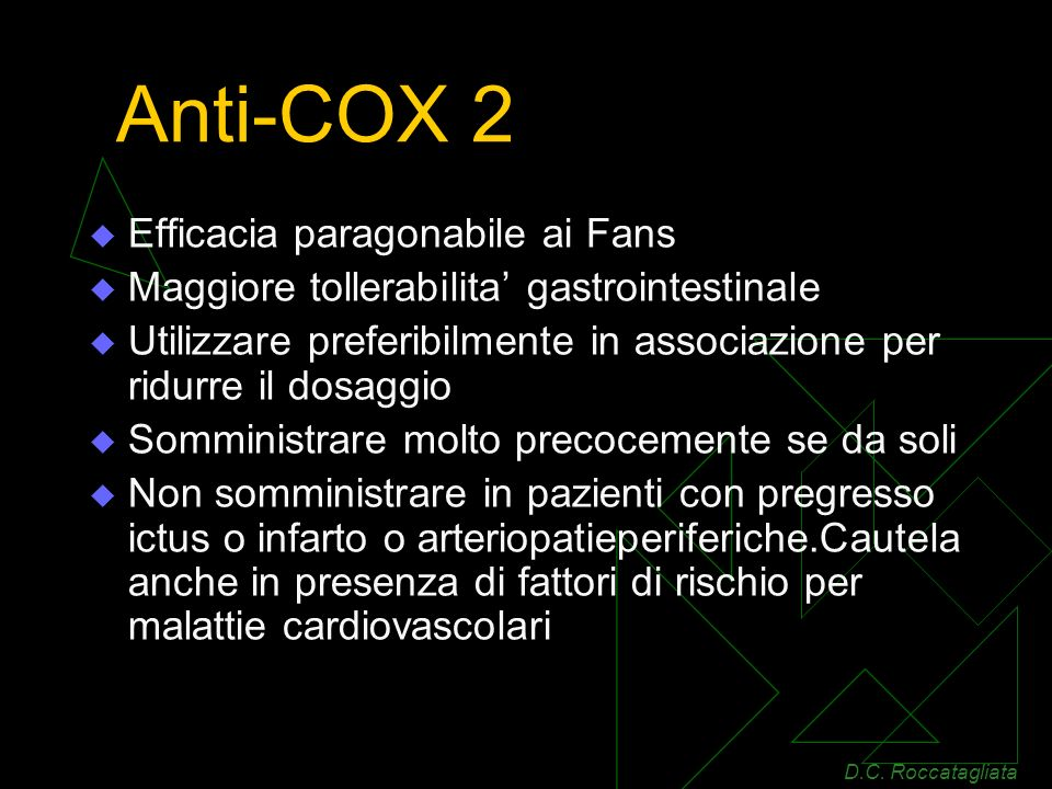 Anti-COX 2 Efficacia paragonabile ai Fans