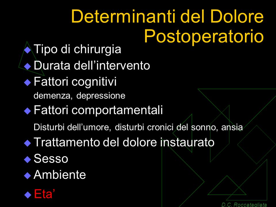 Determinanti del Dolore Postoperatorio