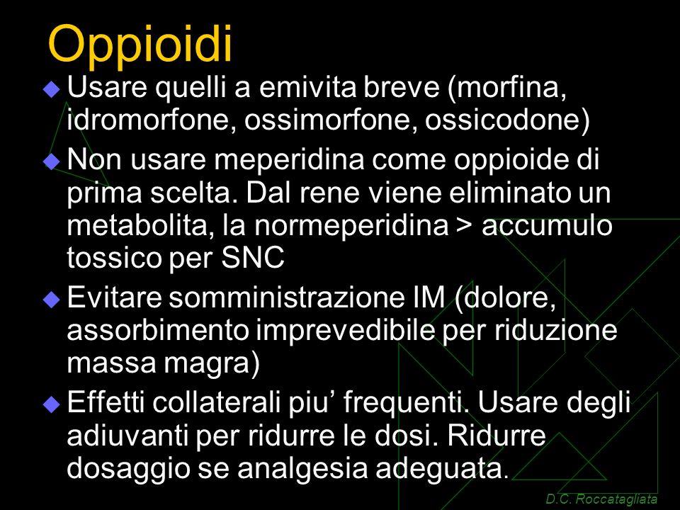Oppioidi Usare quelli a emivita breve (morfina, idromorfone, ossimorfone, ossicodone)
