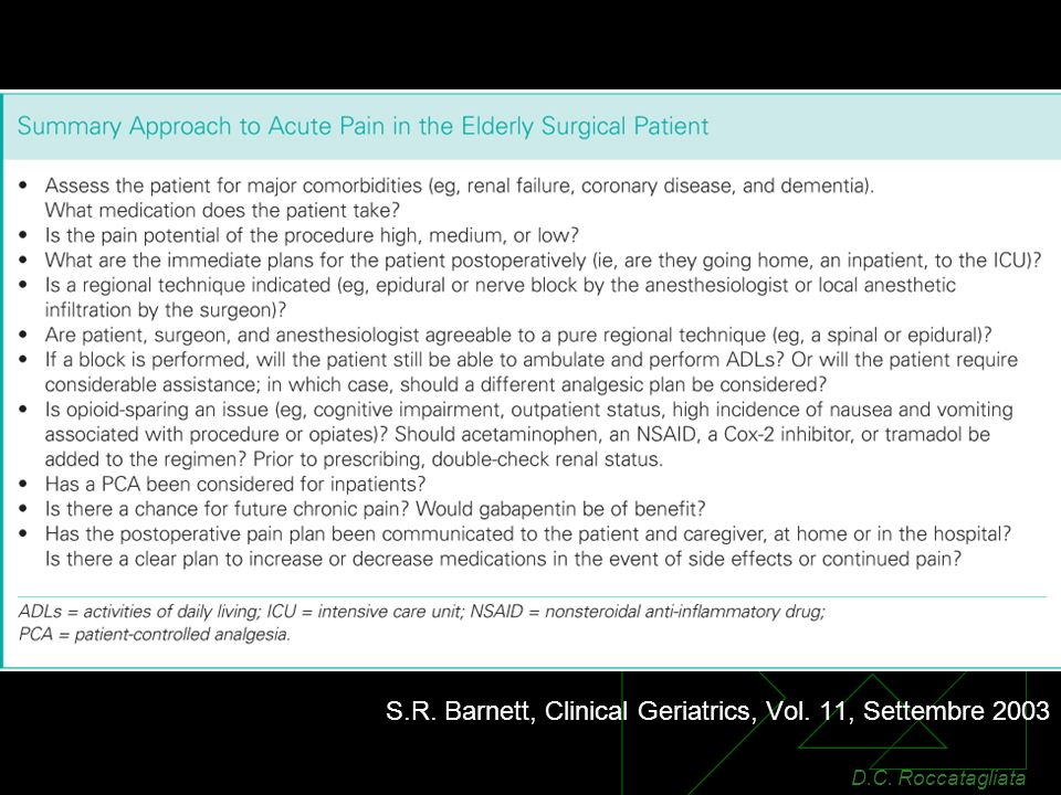S.R. Barnett, Clinical Geriatrics, Vol. 11, Settembre 2003