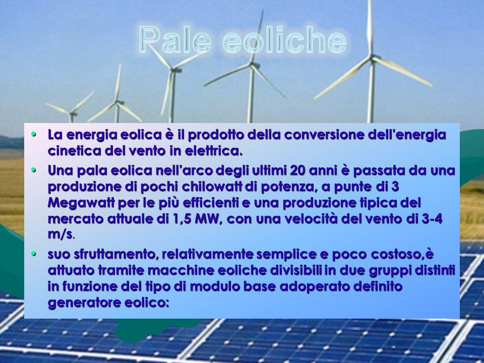 Pale eoliche La energia eolica è il prodotto della conversione dell energia cinetica del vento in elettrica.