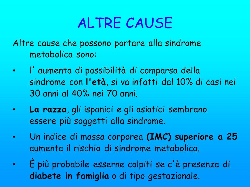 ALTRE CAUSE Altre cause che possono portare alla sindrome metabolica sono: