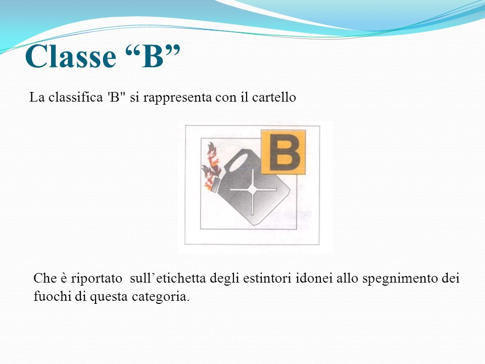 Classe B La classifica B si rappresenta con il cartello