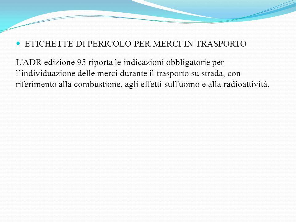 ETICHETTE DI PERICOLO PER MERCI IN TRASPORTO
