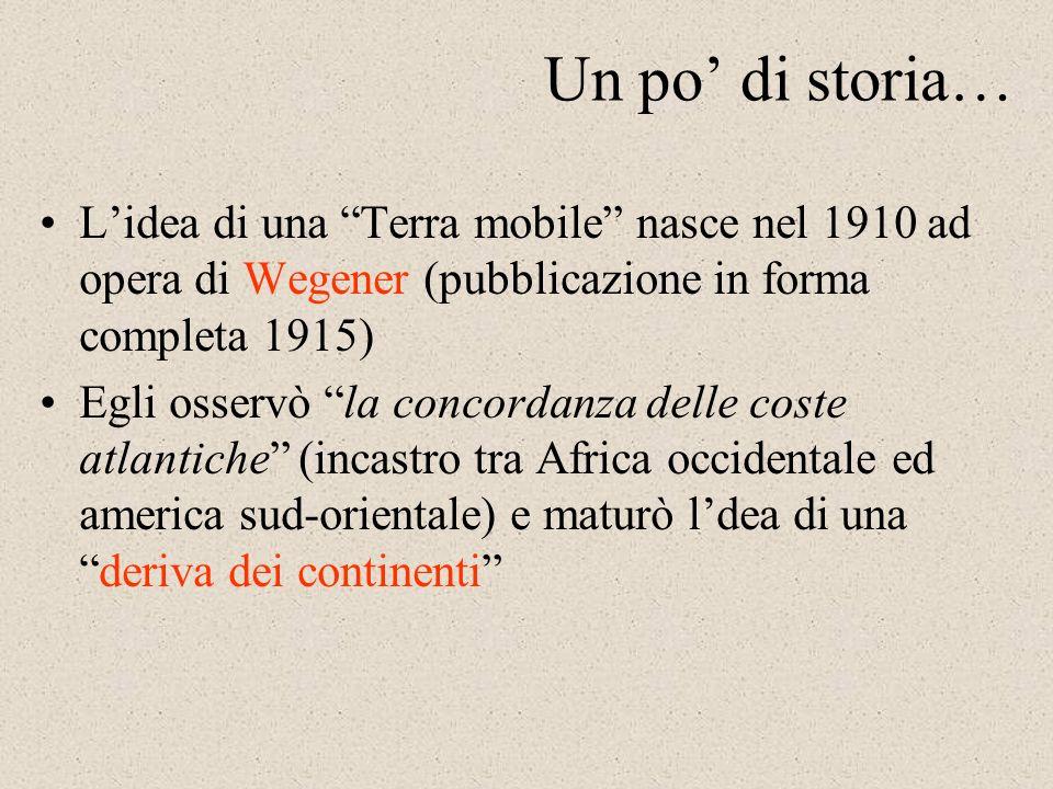 Un po' di storia… L'idea di una Terra mobile nasce nel 1910 ad opera di Wegener (pubblicazione in forma completa 1915)