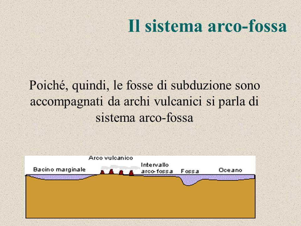 Il sistema arco-fossa Poiché, quindi, le fosse di subduzione sono accompagnati da archi vulcanici si parla di sistema arco-fossa.