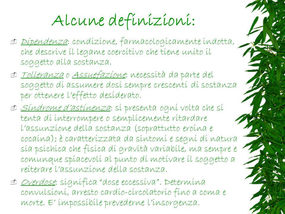 Alcune definizioni: Dipendenza: condizione, farmacologicamente indotta, che descrive il legame coercitivo che tiene unito il soggetto alla sostanza.