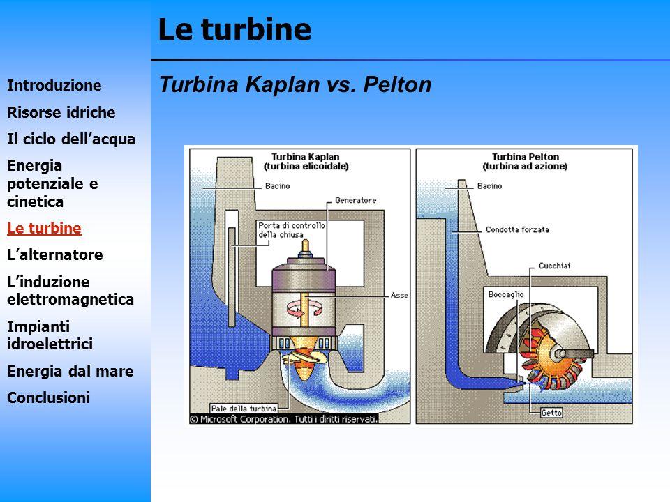 Le turbine Turbina Kaplan vs. Pelton Introduzione Risorse idriche