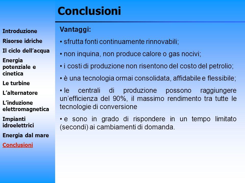 Conclusioni Vantaggi: sfrutta fonti continuamente rinnovabili;