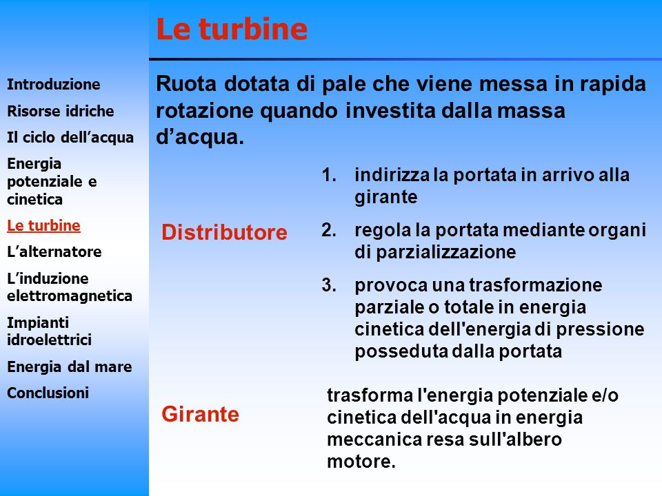 Le turbineRuota dotata di pale che viene messa in rapida rotazione quando investita dalla massa d'acqua.