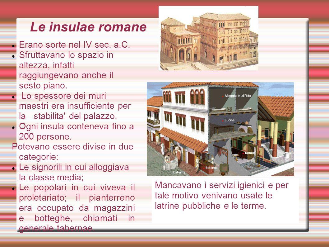 Le insulae romane Erano sorte nel IV sec. a.C.