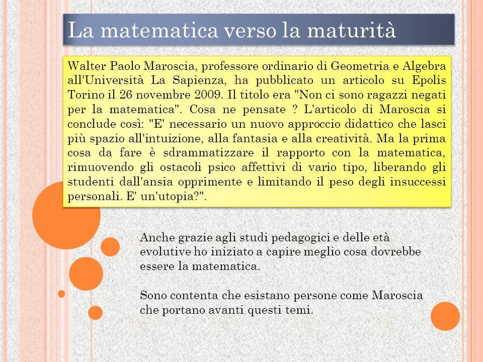La matematica verso la maturità