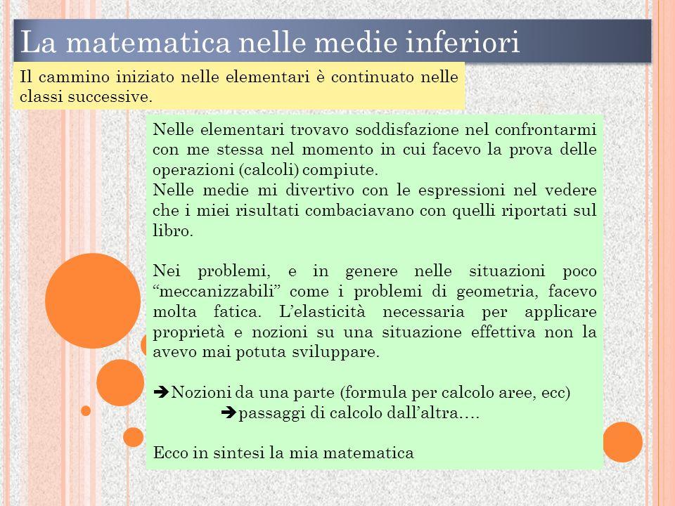 La matematica nelle medie inferiori