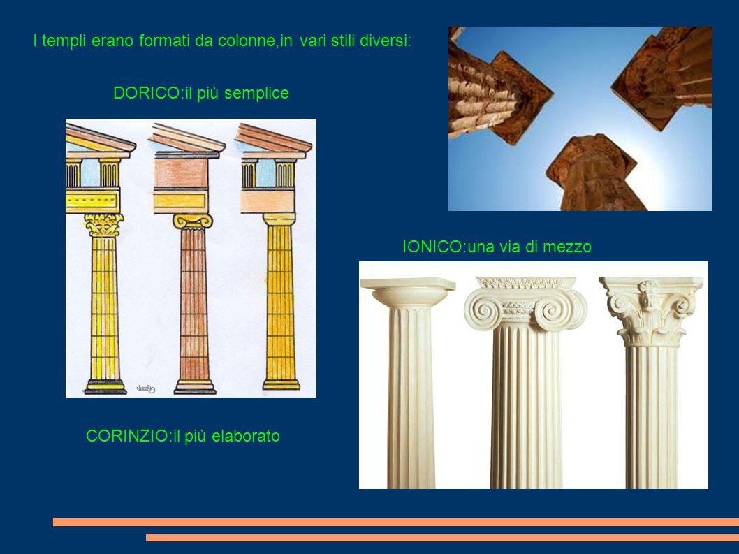 I templi erano formati da colonne,in vari stili diversi:
