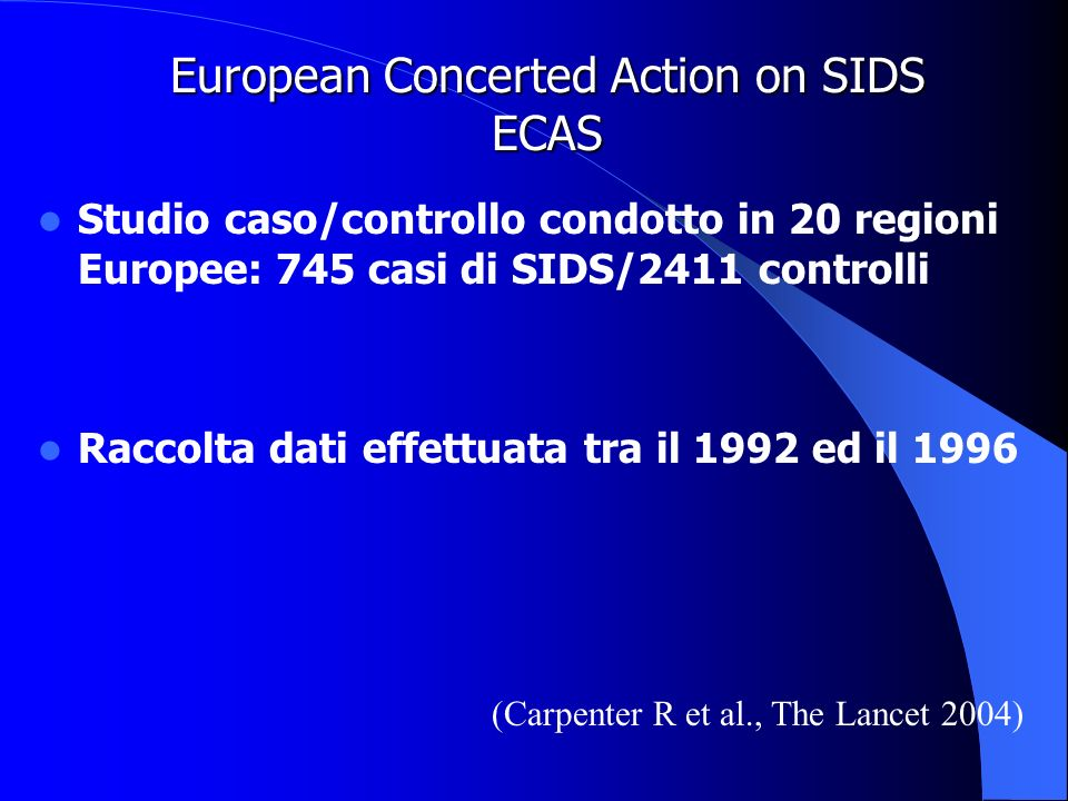 European Concerted Action on SIDS ECAS