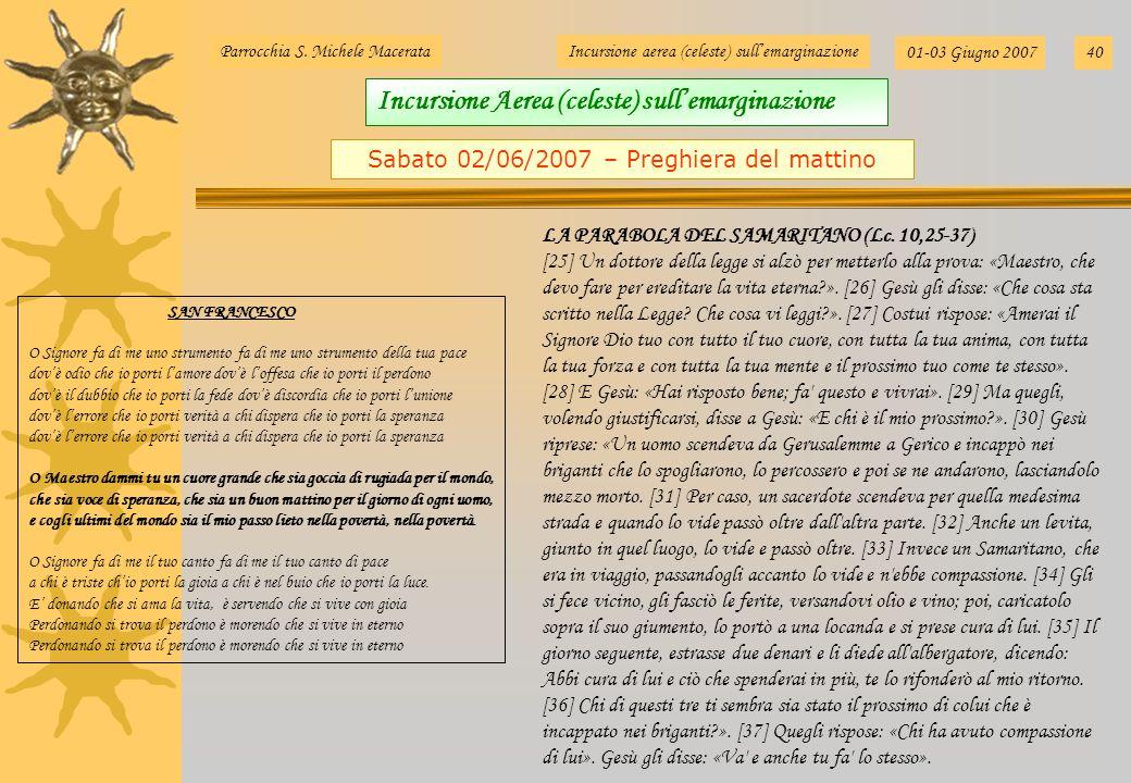 Sabato 02/06/2007 – Preghiera del mattino
