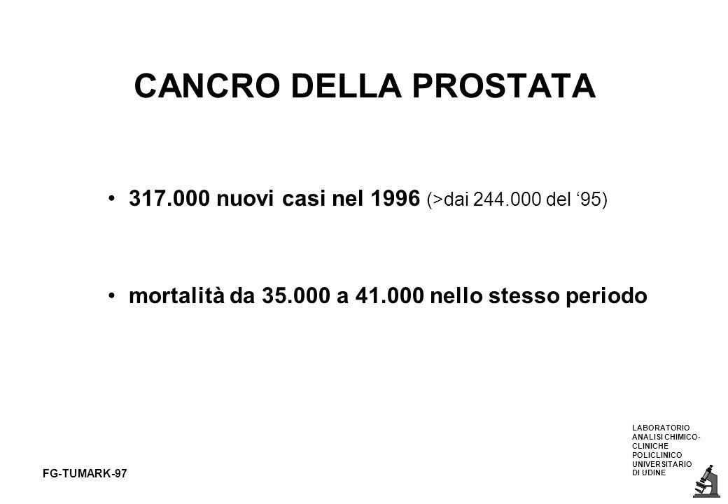 CANCRO DELLA PROSTATA 317.000 nuovi casi nel 1996 (>dai 244.000 del '95) mortalità da 35.000 a 41.000 nello stesso periodo.