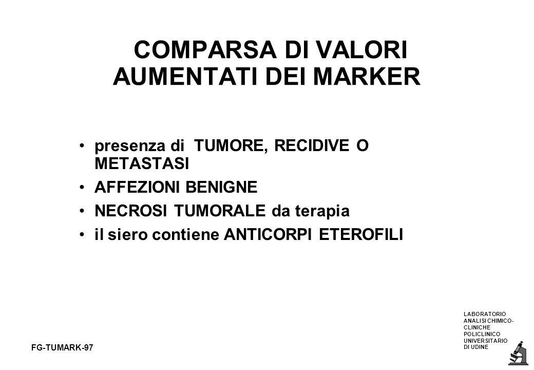 COMPARSA DI VALORI AUMENTATI DEI MARKER