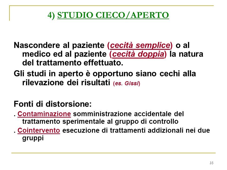 4) STUDIO CIECO/APERTO Nascondere al paziente (cecità semplice) o al medico ed al paziente (cecità doppia) la natura del trattamento effettuato.