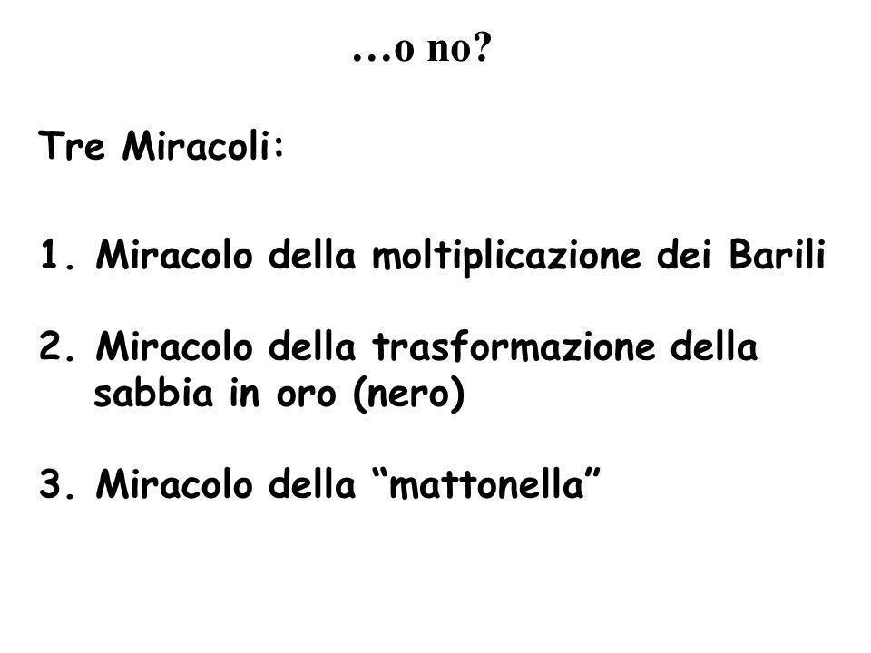 …o no Tre Miracoli: 1. Miracolo della moltiplicazione dei Barili