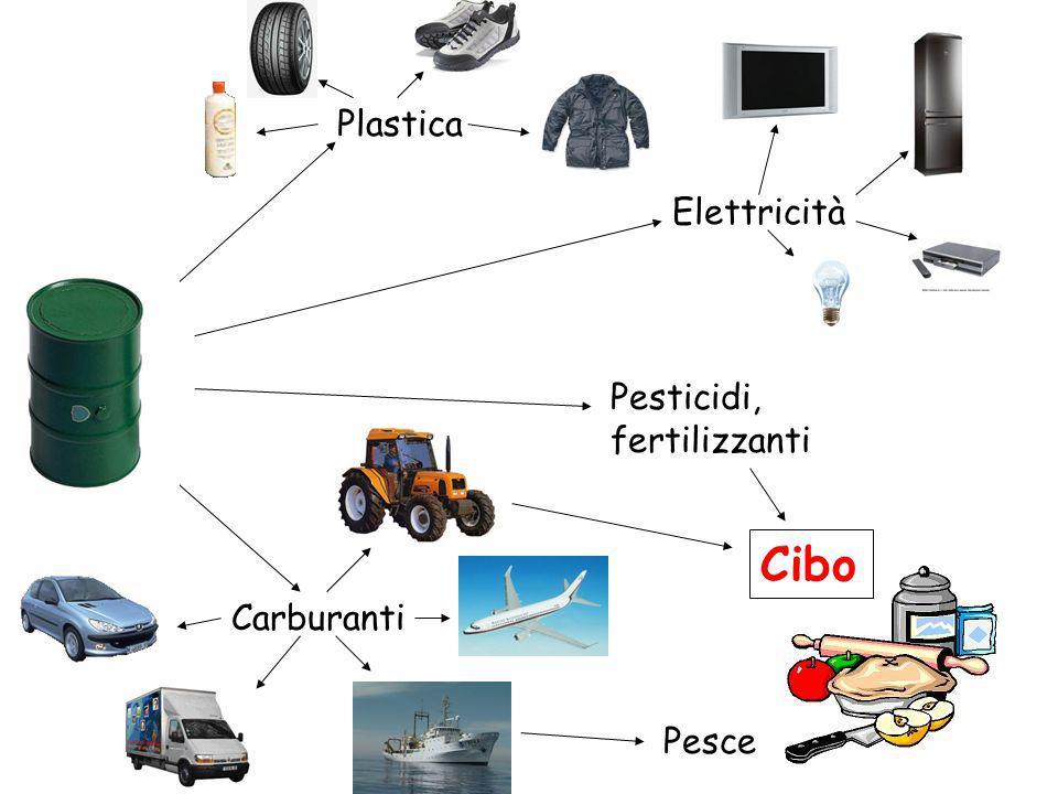 Plastica Elettricità Pesticidi, fertilizzanti Cibo Carburanti Pesce