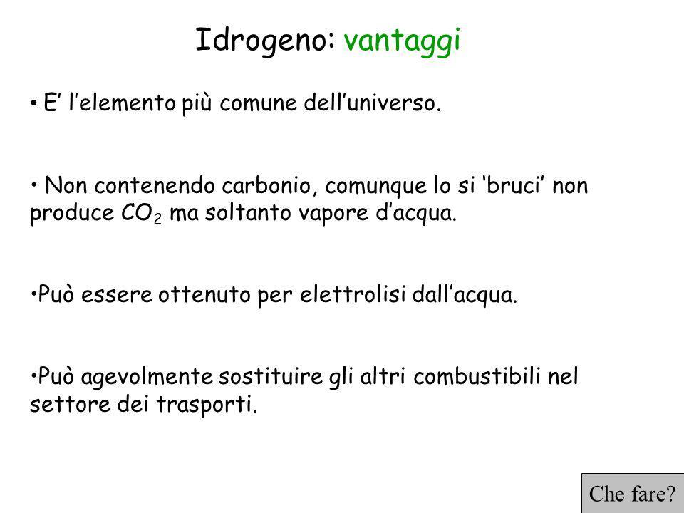 Idrogeno: vantaggi E' l'elemento più comune dell'universo.