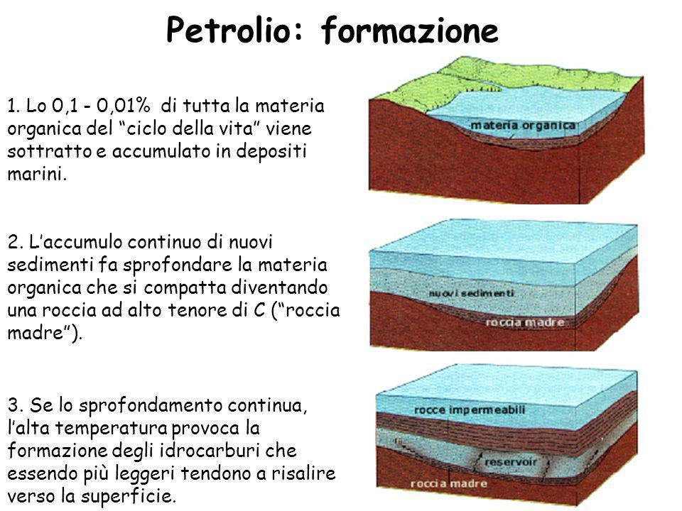 Petrolio: formazione 1. Lo 0,1 - 0,01% di tutta la materia organica del ciclo della vita viene sottratto e accumulato in depositi marini.